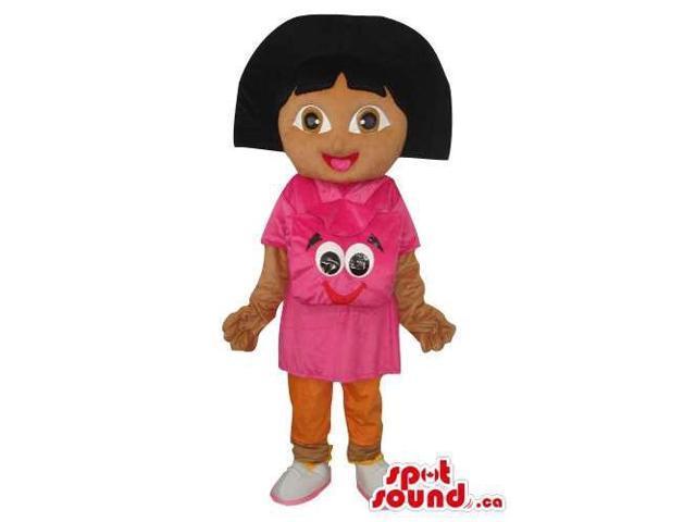 Dark Face Dora The Explorer Tv Series Girl Canadian SpotSound Mascot With Face T-Shirt