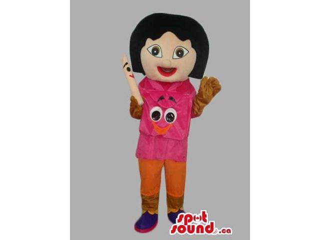 Dora The Explorer Tv Series Girl Canadian SpotSound Mascot With Special Face T-Shirt