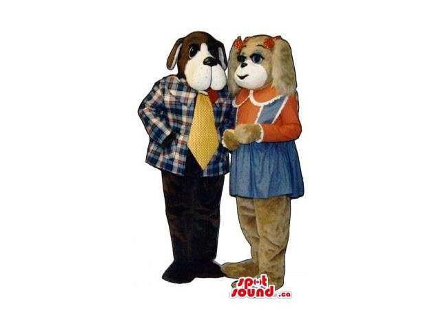 Brown And Black Dog Canadian SpotSound Mascots In Girl And Boy Gear