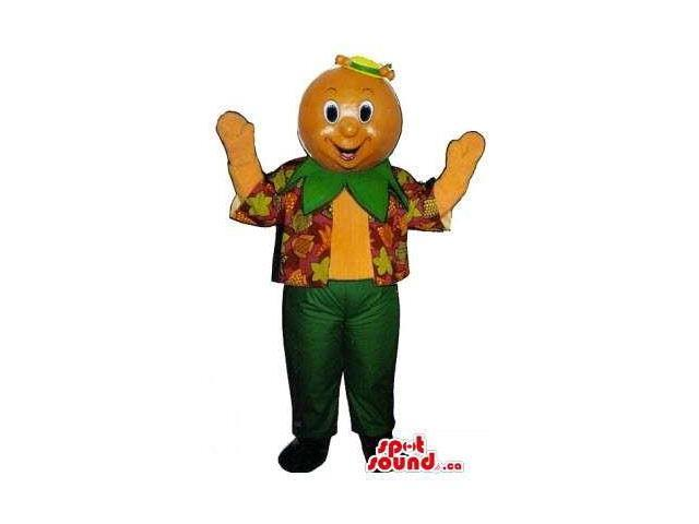 Happy Orange Character Canadian SpotSound Mascot Dressed In Spring Gear