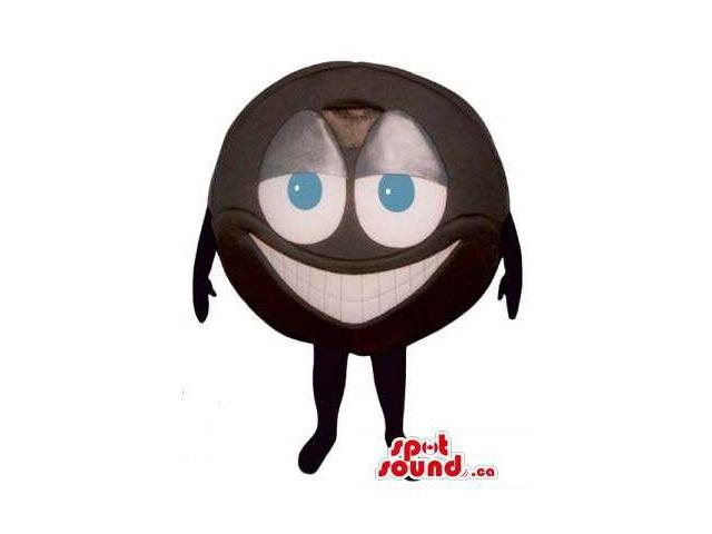 Peculiar Brown Ball Canadian SpotSound Mascot With Blue Eyes And A Large Smile