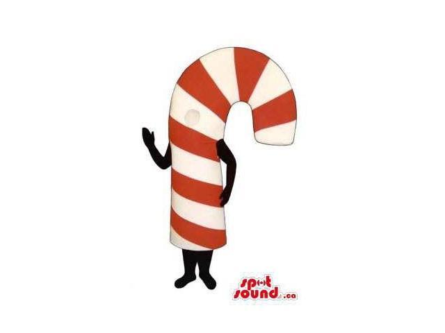 Striped White And Red Sweet Candy Cane Christmas Canadian SpotSound Mascot