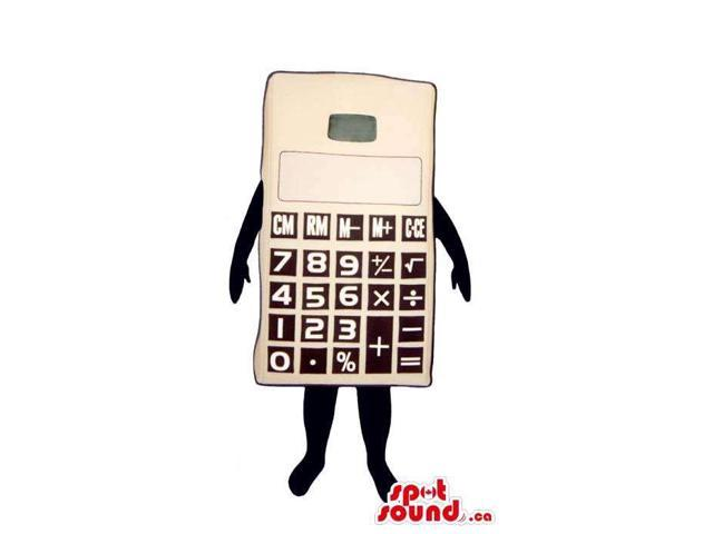 Large White Calculator Canadian SpotSound Mascot With Black Number Keys And No Face