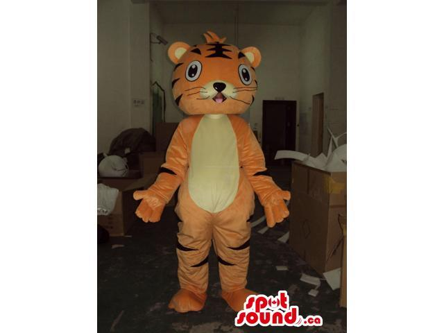 Cute Tiger Cartoon Character Animal Canadian SpotSound Mascot With A Yellow Belly
