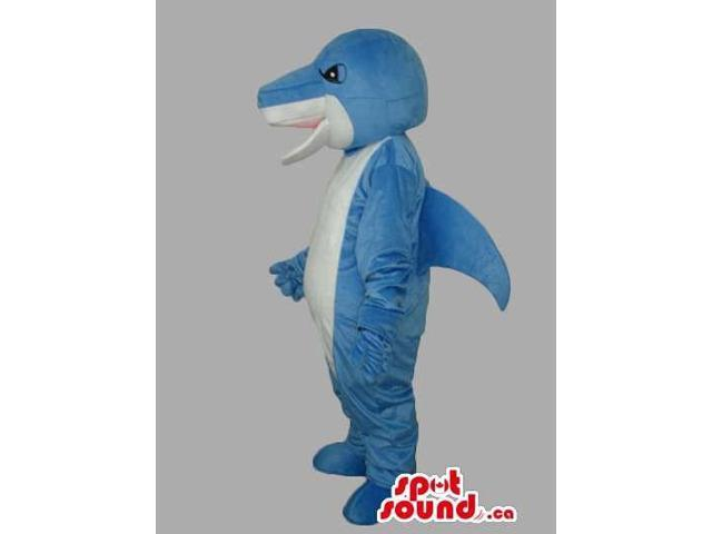 All Blue And White Customised Shark Animal Canadian SpotSound Mascot