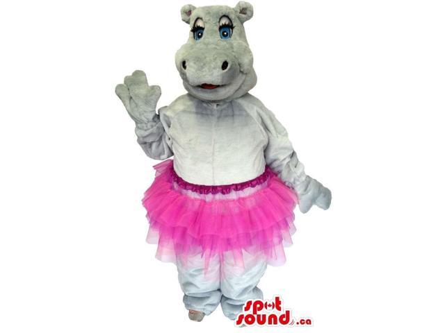 Cute Grey Hippopotamus Girl Plush Canadian SpotSound Mascot With A Pink Ballet Skirt