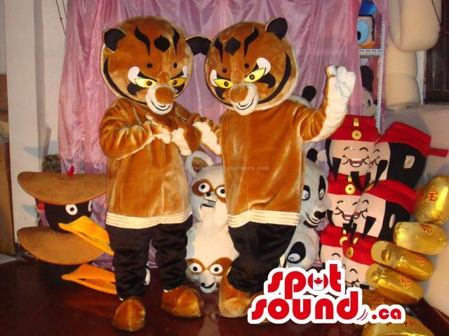 Twin Brown And Black Tiger Canadian SpotSound Mascots With Angry Faces
