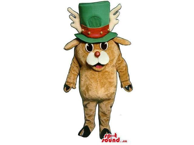 Brown Reindeer Plush Canadian SpotSound Mascot Dressed In A Large Green And Red Hat