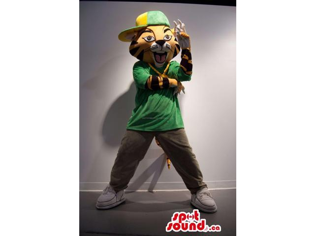 Tiger Plush Canadian SpotSound Mascot Dressed In A Green Shirt And A Cap
