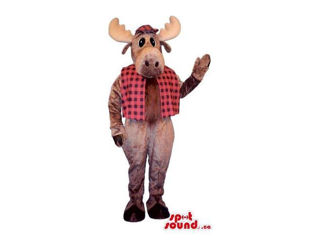 Brown Reindeer Plush Canadian SpotSound Mascot Dressed In A Checked Vest