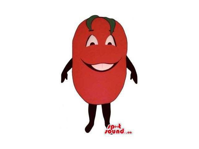 Red Tomato Smiling Vegetable Plush Canadian SpotSound Mascot With Peculiar Face