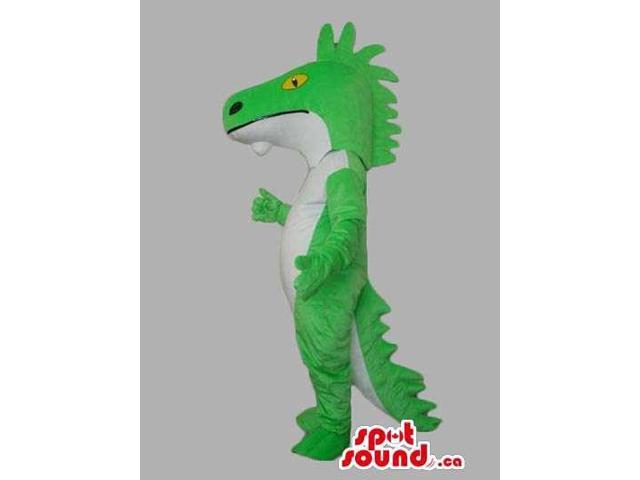 Customised Green And All White Lizard Reptile Canadian SpotSound Mascot