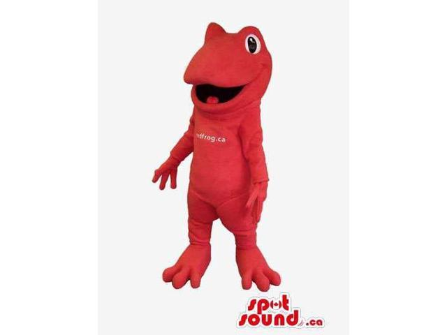 Customised Red Frog Animal Canadian SpotSound Mascot With Text On Its Body