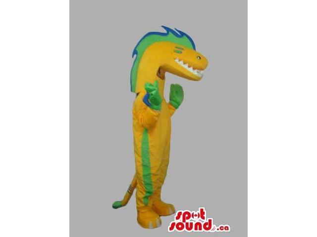 Customised Green, Yellow And Blue Reptile Canadian SpotSound Mascot