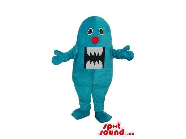 All Blue Monster Plush Canadian SpotSound Mascot With A Peculiar Mouth With Teeth