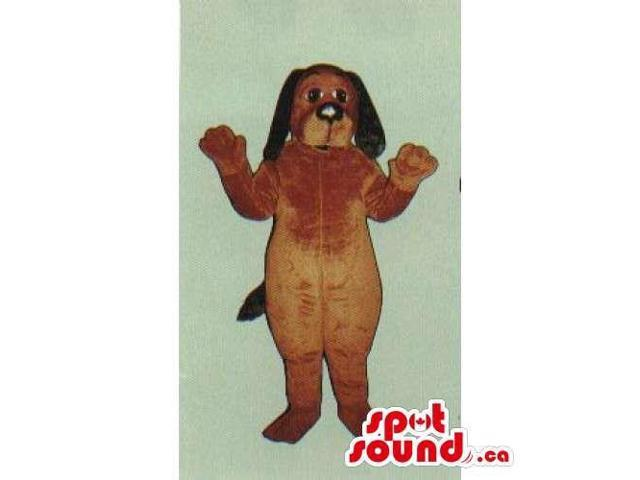 Customised Brown Dog Pet Plush Canadian SpotSound Mascot With Long Black Ears