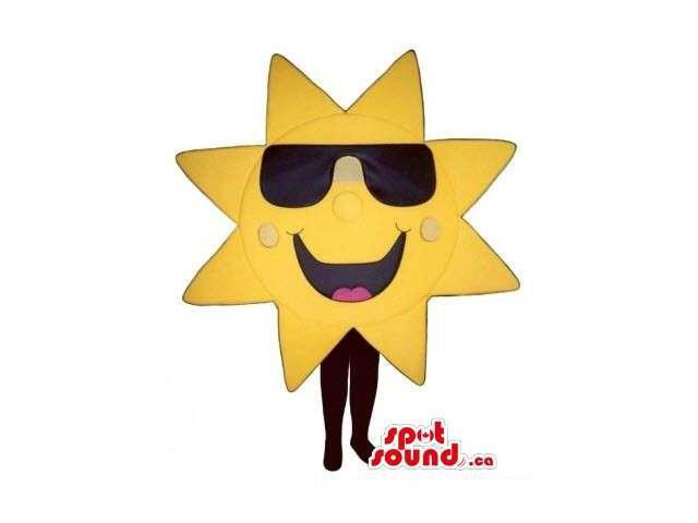 Peculiar Great Bright Sun Canadian SpotSound Mascot Dressed In Large Sunglasses