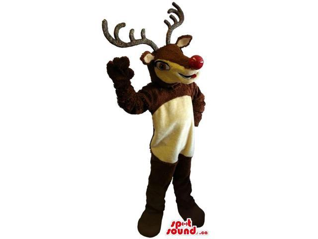 Customised Reindeer Plush Canadian SpotSound Mascot With A Red Nose