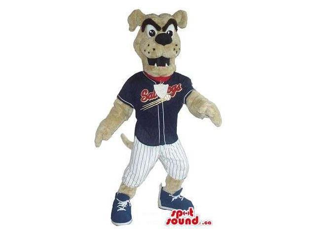 Beige Angry Dog Plush Canadian SpotSound Mascot Dressed In Baseball Player Gear