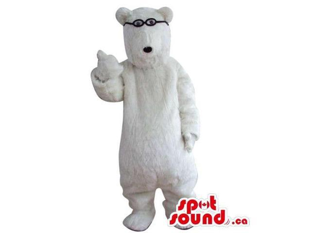 All White Large Bear Plush Canadian SpotSound Mascot Dressed In Small Glasses