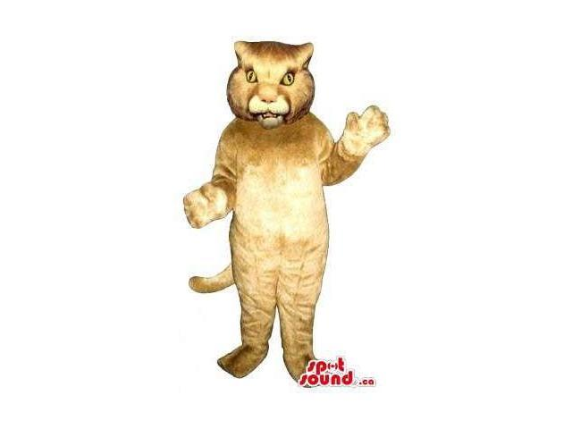 Brown Wildcat Animal Plush Canadian SpotSound Mascot With Yellow Eyes