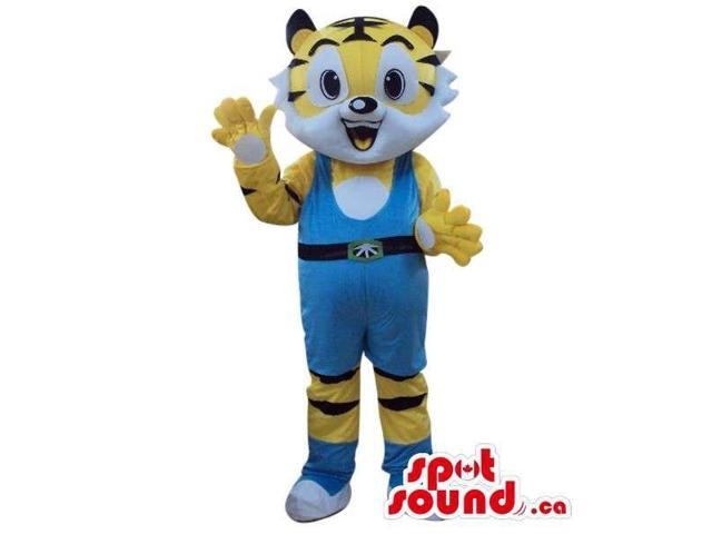 Cute Yellow Tiger Plush Canadian SpotSound Mascot Dressed In Blue Wrestling Gear