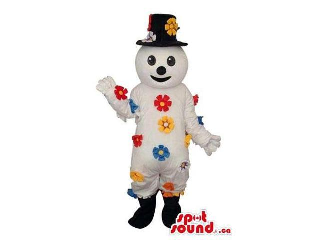 White Snowman Plush Canadian SpotSound Mascot Filled With Colourful Flowers
