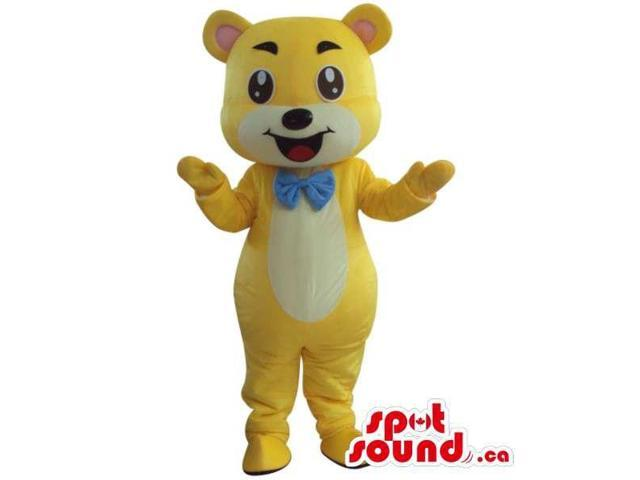 Yellow And White Teddy Bear Plush Canadian SpotSound Mascot Dressed In A Blue Bow Tie
