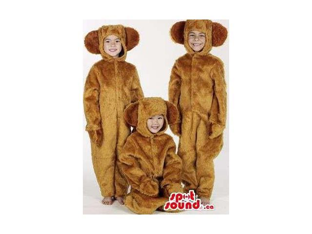 Three All Brown Dog Children Size Plush Costumes