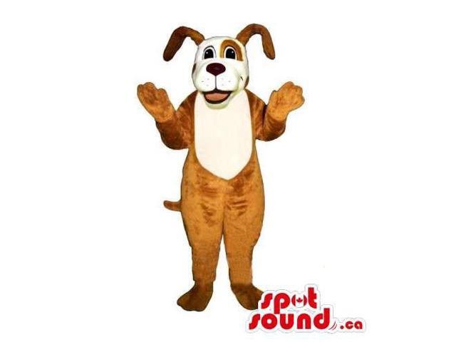 Customised Peculiar Brown Dog Canadian SpotSound Mascot With White Face