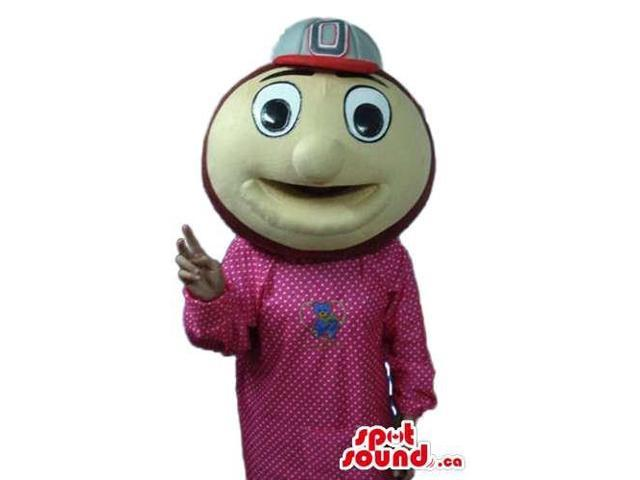 Round Beige Ball Canadian SpotSound Mascot Dressed In A Cap And A Red Dress