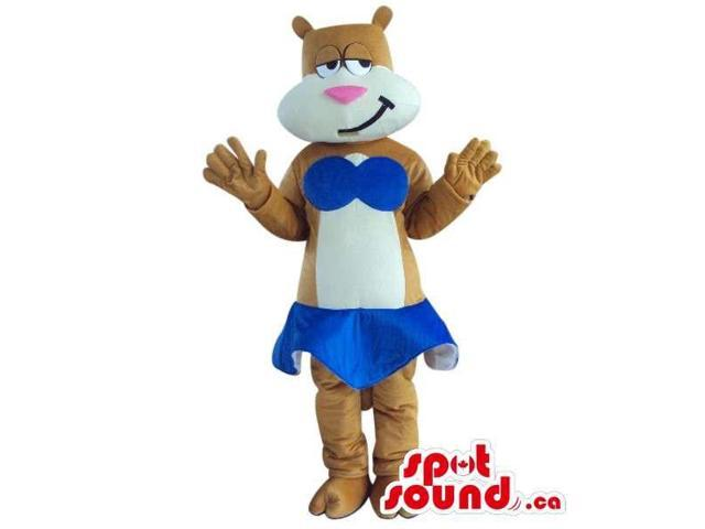 Brown And White Bear Plush Canadian SpotSound Mascot Dressed In A Blue Bikini