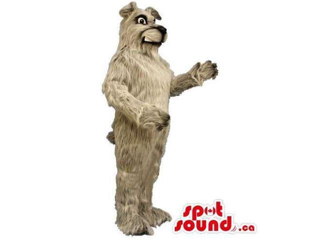Customised Grey Woolly Dog Canadian SpotSound Mascot With Angry Face