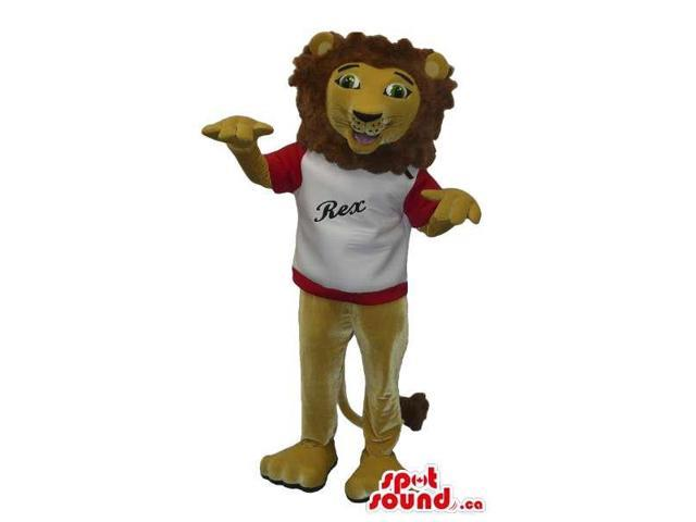 Brown Lion Plush Canadian SpotSound Mascot Dressed In A T-Shirt With Text