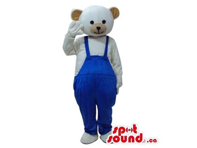 White Teddy Bear Plush Canadian SpotSound Mascot Dressed In Blue Overalls