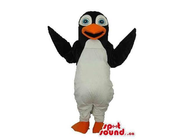 Penguin Animal Plush Canadian SpotSound Mascot With Round Blue Eyes And Open Mouth