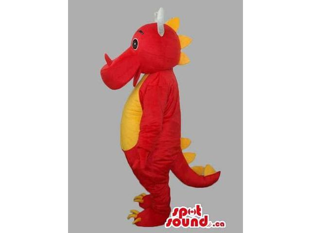 Red And Yellow Customised Dragon Canadian SpotSound Mascot With White Horns