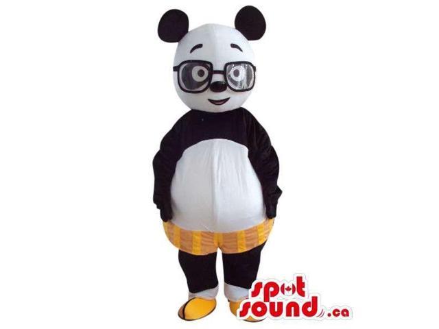 Cute Panda Bear Plush Canadian SpotSound Mascot With Shorts And Glasses