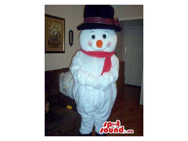 White Snowman Plush Canadian SpotSound Mascot With A Large Black Hat And Orange Nose