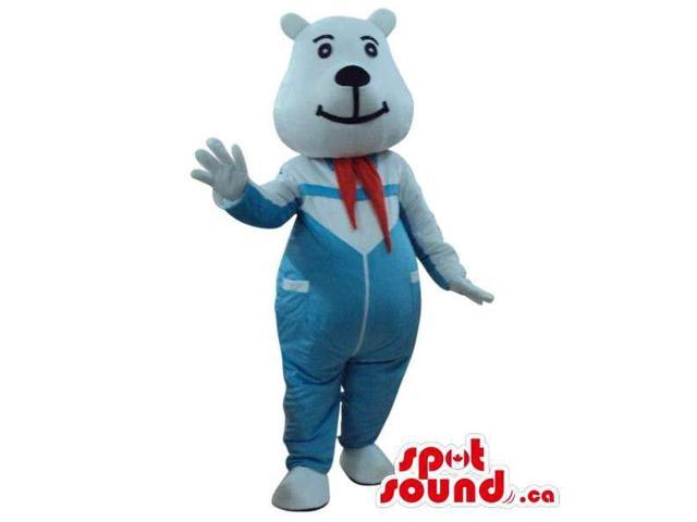 White Bear Plush Canadian SpotSound Mascot Dressed In Blue Overalls