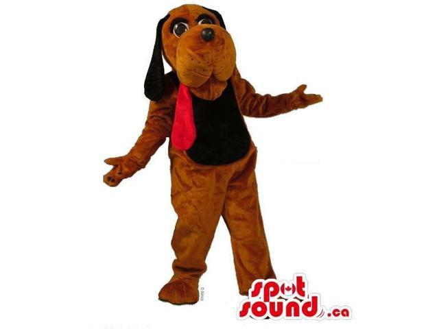Brown Dog Plush Canadian SpotSound Mascot With A Very Long Red Tongue