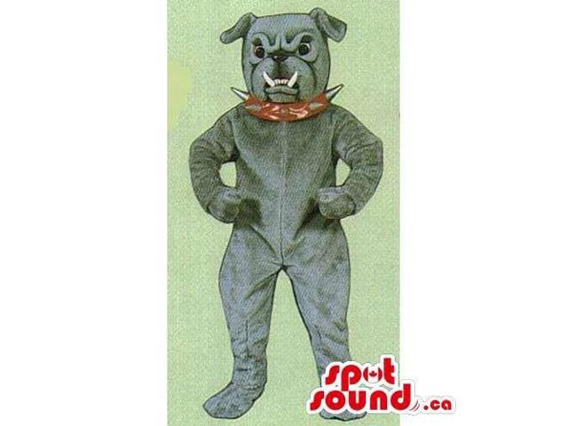 Customised Grey Bulldog Canadian SpotSound Mascot Dressed In A Red Spiky Collar
