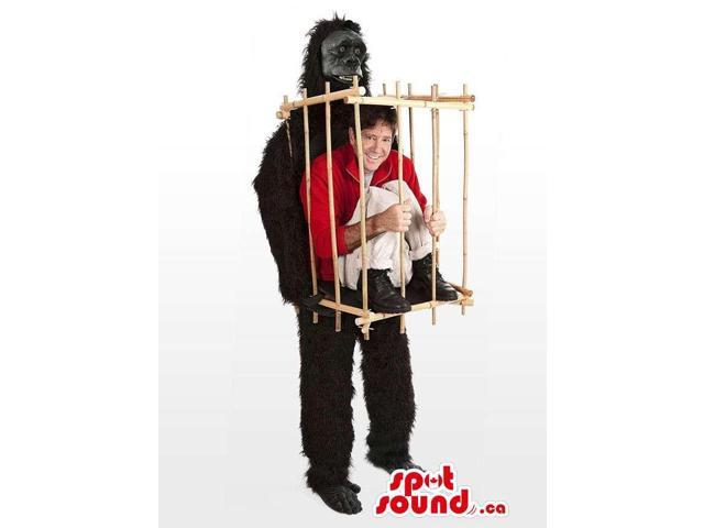 Great Black Gorilla With A Cage Canadian SpotSound Mascot Or Disguise