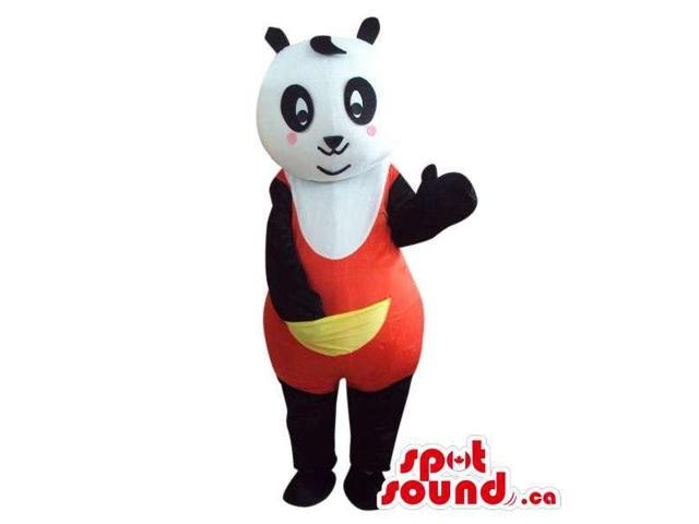Cute Panda Bear Plush Canadian SpotSound Mascot Dressed In Red Gear With A Pocket
