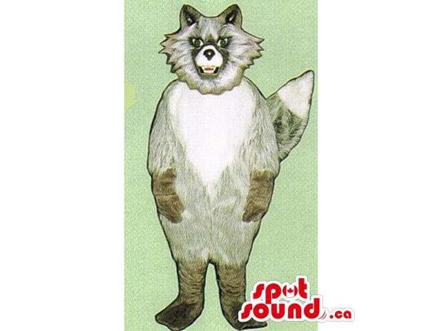 Customised Grey And White Cat Canadian SpotSound Mascot With An Angry Woolly Face