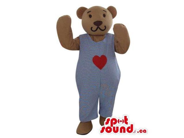 Brown Teddy Bear Plush Canadian SpotSound Mascot Dressed In Overalls With A Heart