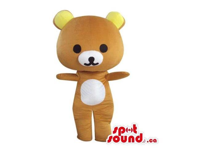 Cartoon Brown Teddy Bear Plush Canadian SpotSound Mascot With Yellow Ears