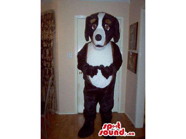 White And Brown Dog Plush Canadian SpotSound Mascot With Black Nose And Ears