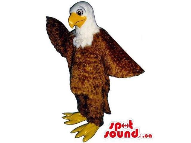 Friendly Customised American Eagle Canadian SpotSound Mascot With Closed Beak