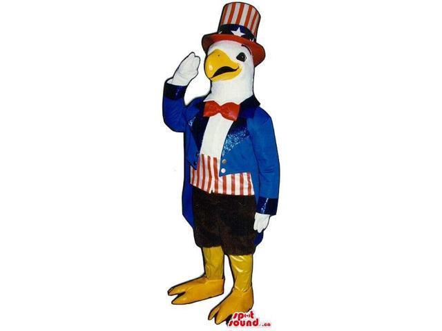 American Eagle Uncle Sam Plush Canadian SpotSound Mascot Dressed In American Flag Clothes